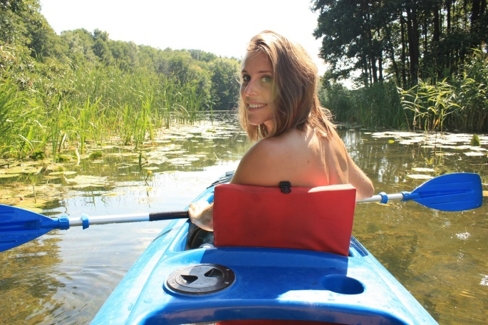 Kayaking on Krutynia river Masuria Poland